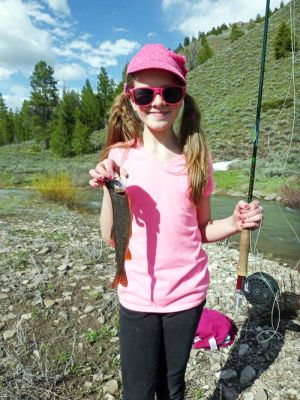 Paul's Granddaughter holding a Boneville cutthroat on Salt Creek